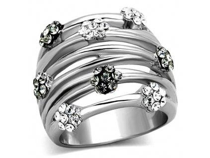 PR6357ZOC - Kvietočky - prsteň z chirurgickej ocele so zirkónmi