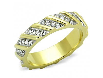 PR6375ZGOC ocelovy prsten so zirkonmi