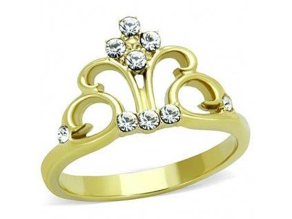 PR6378ZGOC korunka ocelovy prsten so zirkonmi