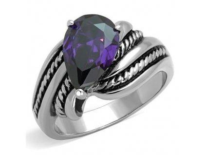 PR6396ZOC ocelovy prsten so zirkonom ametyst