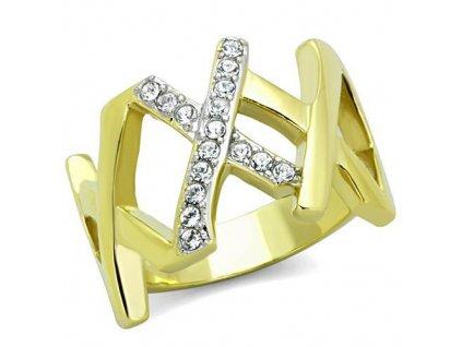 PR6399ZGOC ocelovy prsten so zirkonmi