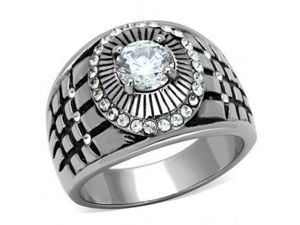 PR6405ZOC pansky prsten z chirurgickej ocele so zirkonmi