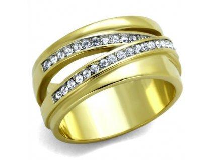 PR6416ZGOC ocelovy prsten zlato zirkony