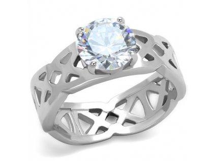 PR6419ZOC ocelovy prsten so zirkonom