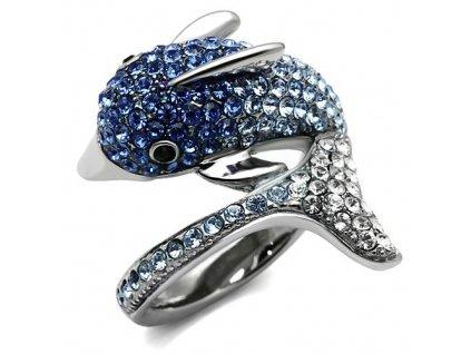 PR6420ZOC - Delfín - prsteň z chirurgickej ocele so zirkónmi