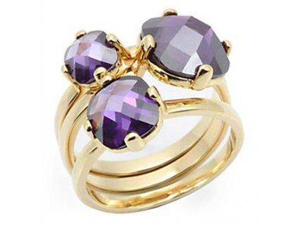 pozlateny prsten fialove zirkony