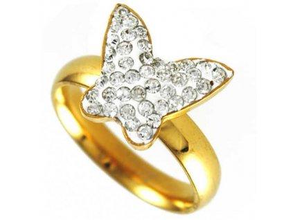 PR6451ZGOC Motýlik prsteň z chirurgickej ocele so zirkónmi