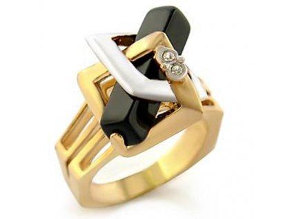 zaujimavy prsten pozlateny cierny zirkon