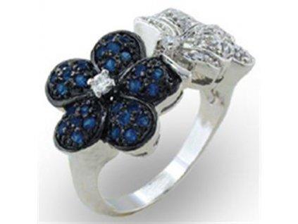prsten striebro kvietky