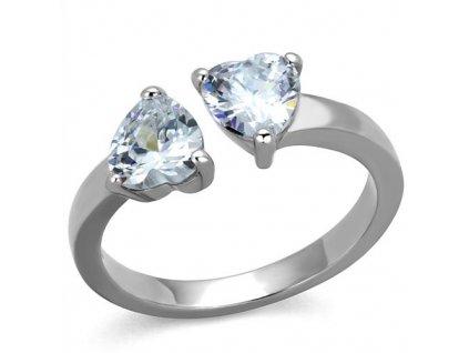 PR6483ZOC - Dve srdiečka - oceľový prsteň so zirkónmi