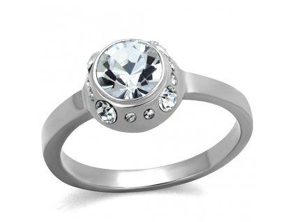 PR6487ZOC ocelovy prsten so zirkonmi
