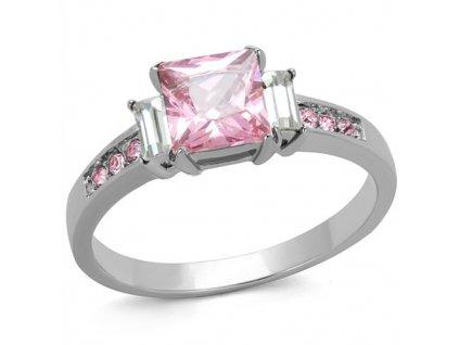 PR6488ZOC - Ružový sen - oceľový prsteň so zirkónmi
