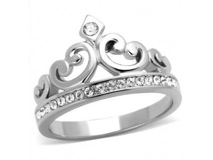 PR6494ZOC - Korunka - prsteň z chirurgickej ocele so zirkónmi