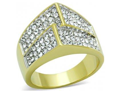 PR8019ZGOC prsten z chirrugickej ocele pozlateny so zirkonmi