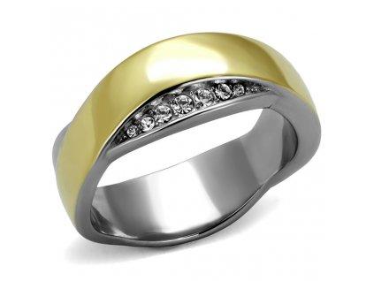 PR8022ZGOC ocelovy prsten pozlatena obrucka
