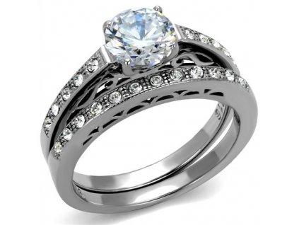 PR8030ZOC Dvojitý oceľový prsteň so zirkónmi