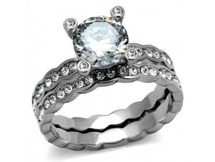 PR8031ZOC Dvojitý oceľový prsteň so zirkónmi
