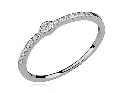 PR7134ZSS Strieborný prsteň so zirkónmi