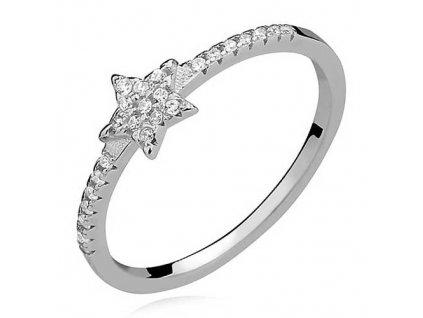 PR7141ZSS Hviezdička strieborný prsteň so zirkónmi