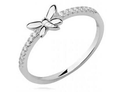 PR7144ZSS Motýlik strieborný prsteň so zirkónmi