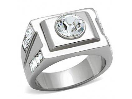 PR6501ZOC Pánsky oceľový prsteň so zirkónom