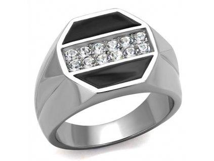 PR6506ZOC Pánsky oceľový prsteň so zirkónmi