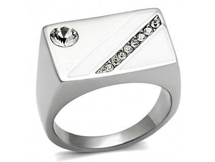 PR6507ZOC Pánsky oceľový prsteň so zirkónmi