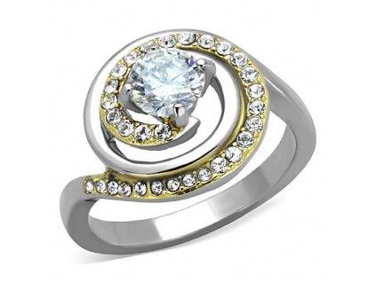 PR8044ZGOC Oceľový prsteň so zirkónmi