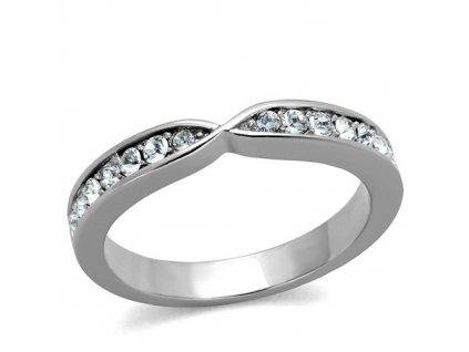PR8048ZOC Jemný oceľový prsteň so zirkónmi