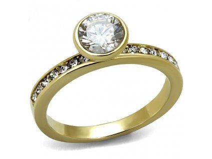 PR8050ZGOC ocelovy prsten pozlateny so zirkonmi