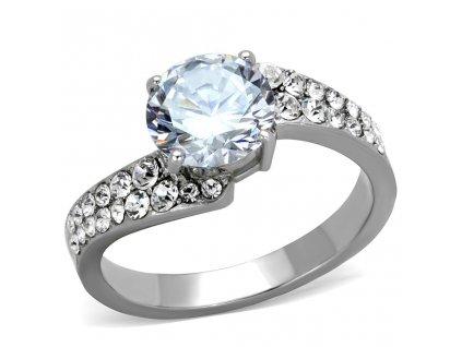 PR8051ZOC ocelovy prsten so zirkonmi