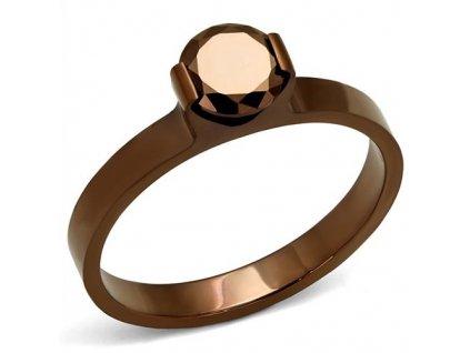 PR8055ZOC Hnedý prsteň z chirugickej ocele so zirkónom