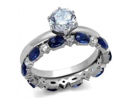 PR8065ZOC Dvojitý prsteň z chirurgickej ocele so zirkónmi