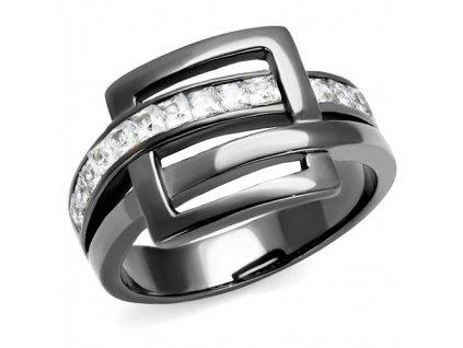PR8070BZOC Čierny oceľový prsteň so zirkónmi