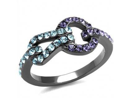 PR8071BZOC Čierny prsteň z chirurgickej ocele so zirkónmi