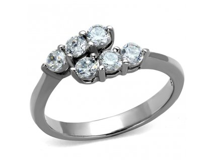 PR8078ZOC Jemný oceľový prsteň so zirkónmi