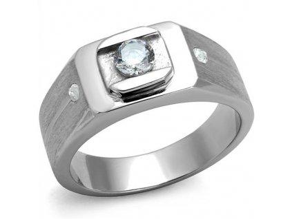PR6511ZOC Pánsky oceľový prsteň so zirkónmi