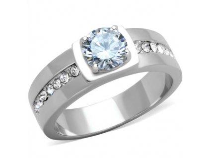 PR6512ZOC Pánsky oceľový prsteň so zirkónmi
