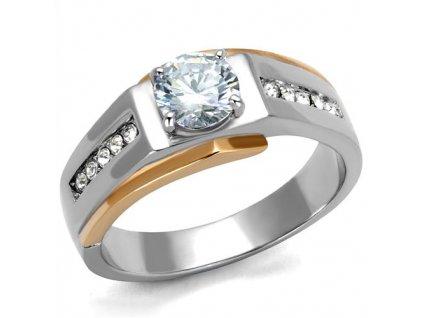 PR6513ZGOC Pánsky oceľový prsteňl so zirkónmi