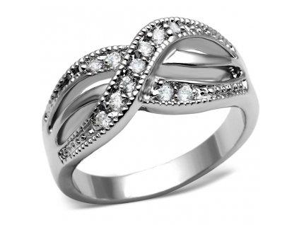 PR8089ZOC Oceľový prsteň so zirkónmi