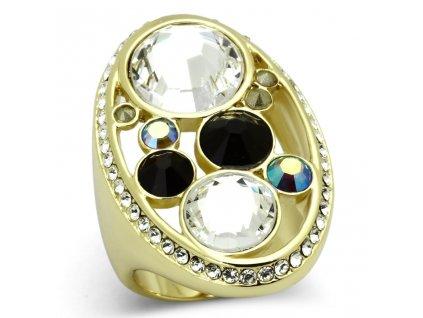PR8091ZGOC Výrazný prsteň z chirurgickej ocele so zirkónmi