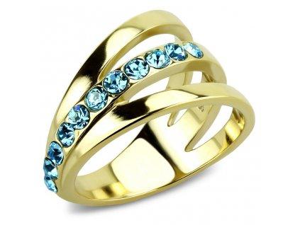 PR8124ZGOC ocelovy prsten so zirkonmi damsky pozlateny
