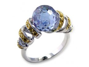 PR0244ZGR Pozlateny prsten so zirkonmi