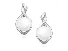 NA9756ZPSS strieborne nausnice s perlami zirkonmi