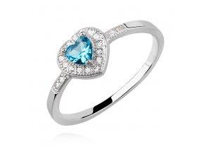 PR7164ZSS Modré srdiečko strieborný prsteň