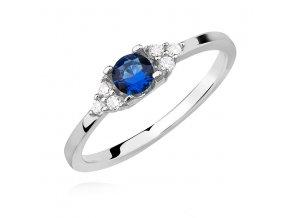 PR7170ZSS Strieborný prsteň s modrým zirkónom