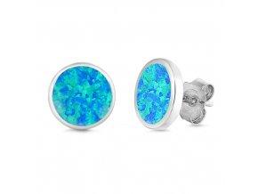 NA9832OSS strieborne nausnice opal modry oval