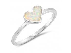 PR7172OSS opalovy prsten biele srdce