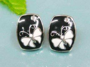 NA3293OC cierno biele motyle nausnice z ocele