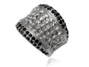 PR8166ZOC damsky ocelovy prsten cierne kristaly